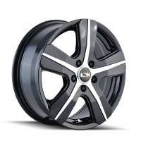 ION ION TYPE 101 GLOSS BLACK/MACHINED FACE 16X7 5-160 55MM 65.1MM 101-6741B